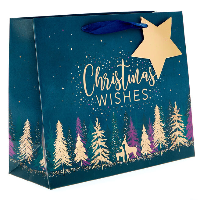 Small Landscape Navy Deers Christmas Gift Bag
