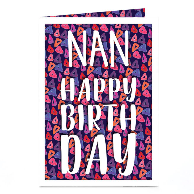 Personalised Birthday Card - Funky Triangles, Nan