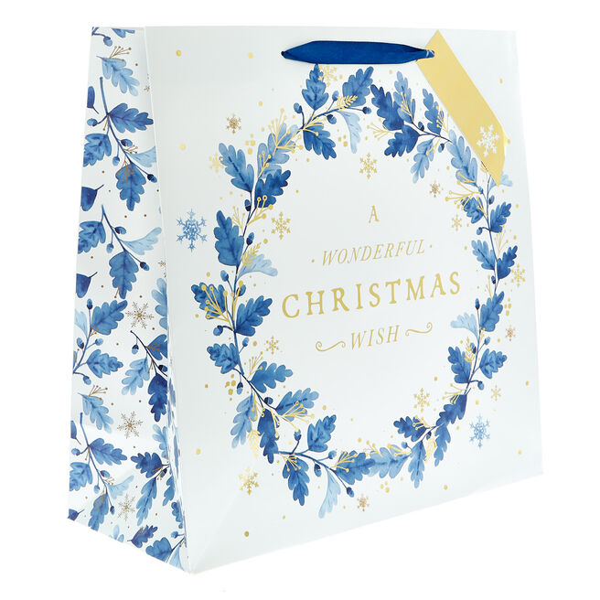 Square Blue Leaves Christmas Gift Bag