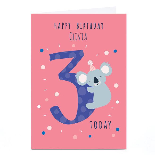 Personalised Klara Hawkins 3rd Birthday Card - Koala