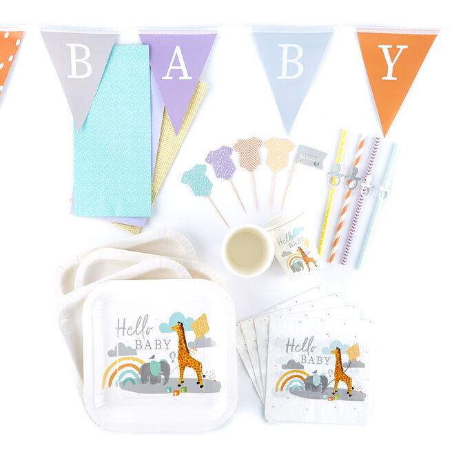 Hello Baby Party Tableware & Decoration Bundle - 102 Pieces