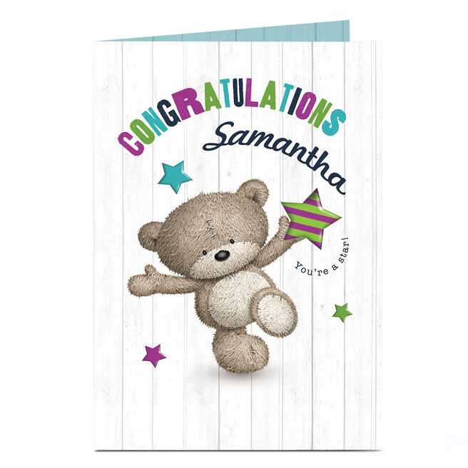 Personalised Hugs Bear Congratulations Card - You're A Star