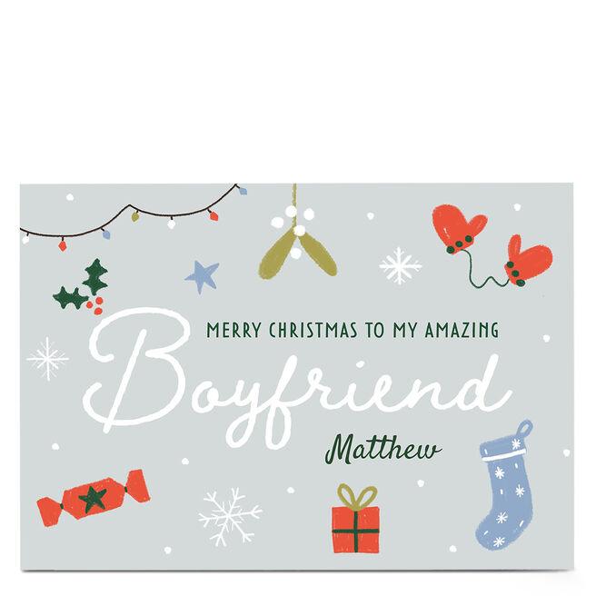 Personalised Juniper & Rose Christmas Card - Boyfriend