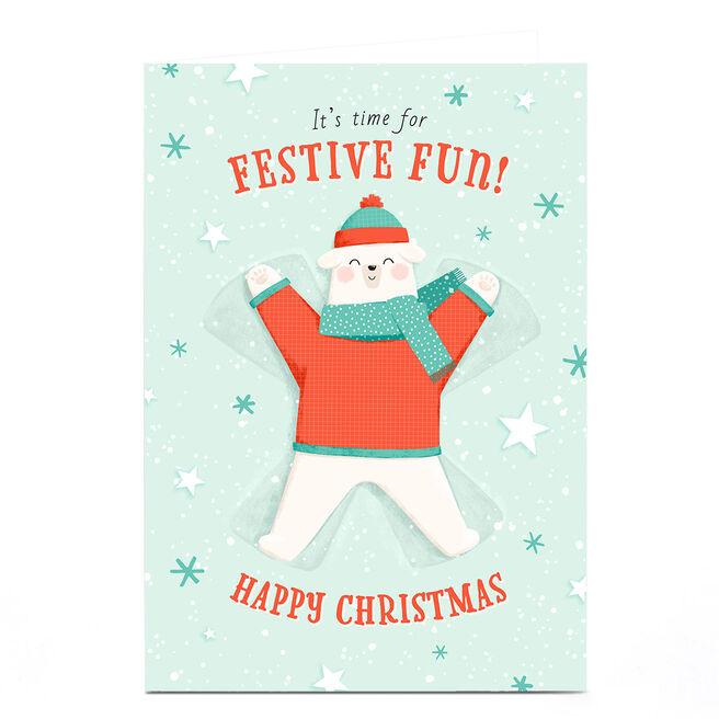 Personalised Christmas Card - Festive Fun Bear