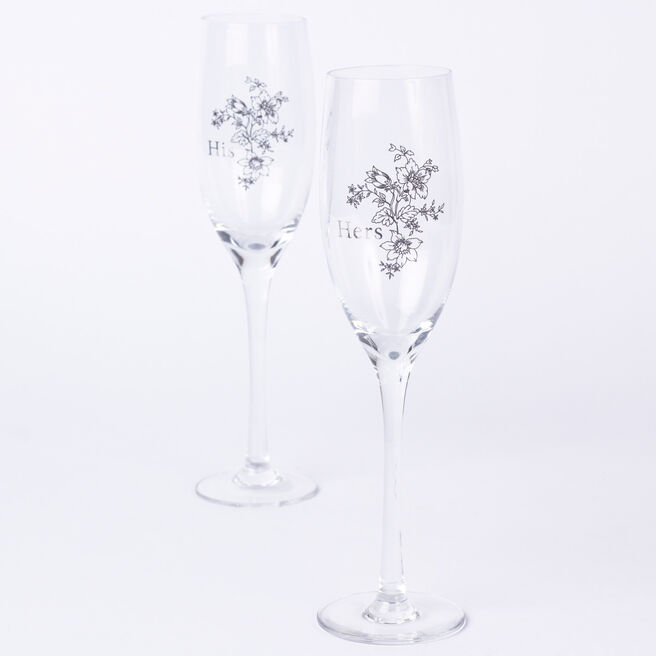 Engagement His & Hers Champagne Glass Set