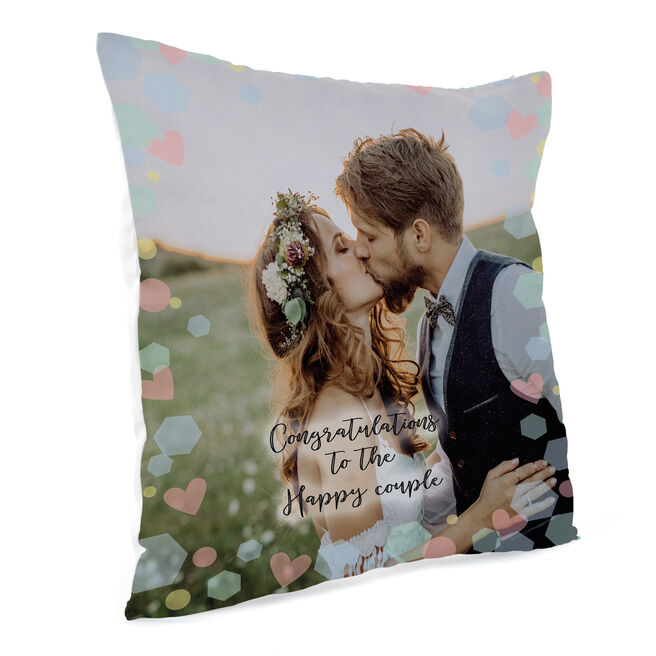 Personalised Photo Upload Cushion - Congratulations To The Happy Couple