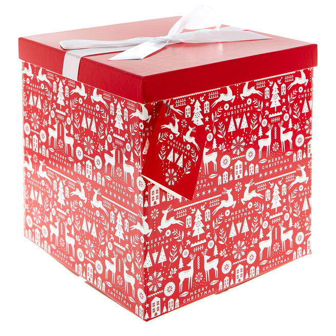 Extra Large Red & White Flat-Pack Christmas Gift Box