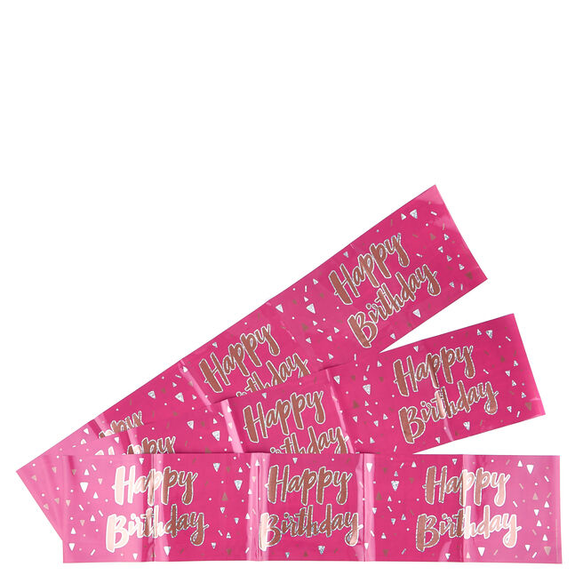 Pink Happy Birthday Party Banners - Pack Of 3