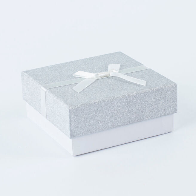 Silver Glitter Jewellery Gift Box - Medium