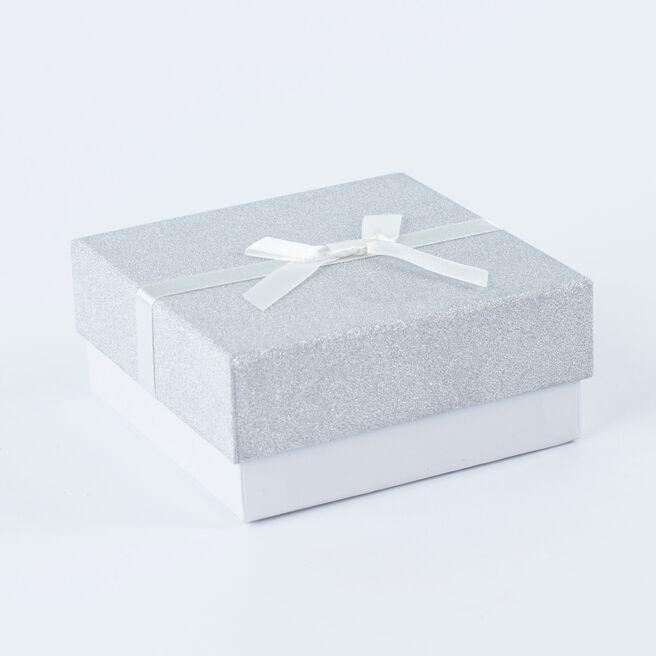 Silver Glitter Jewellery Gift Box - Medium