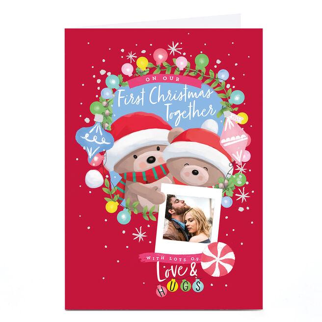 Photo Hugs Bear Christmas Card - First Christmas Together