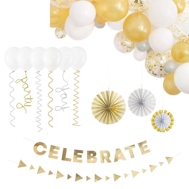 Gold & White Party Accessories Kit