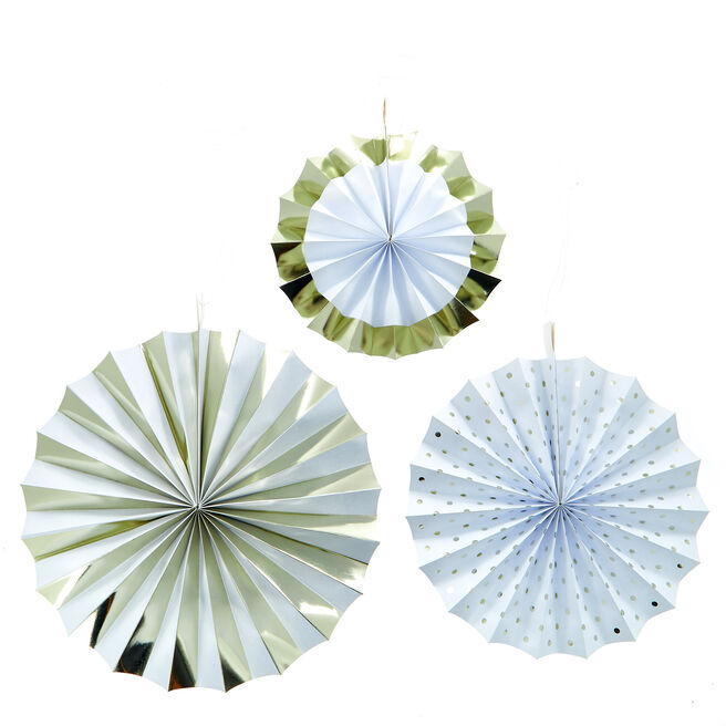White & Gold Paper Fan Decorations - Pack Of 3