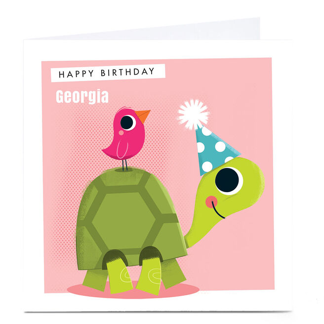 Personalised Hello Munki Card - Cute Tortoise