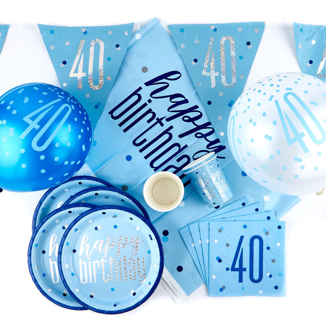 Blue 40th Birthday Party Tableware & Decorations Bundle - 78 Pieces