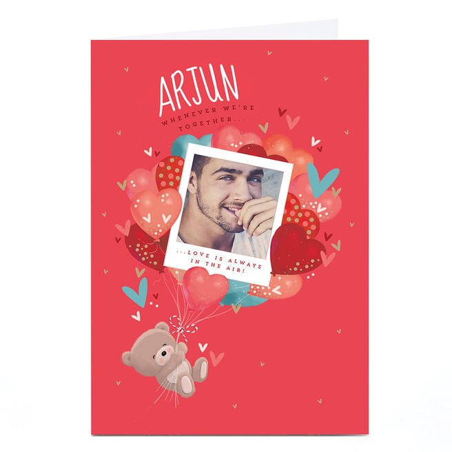 Photo Hugs Bear Valentine's Day Card - Love is Always in the Air