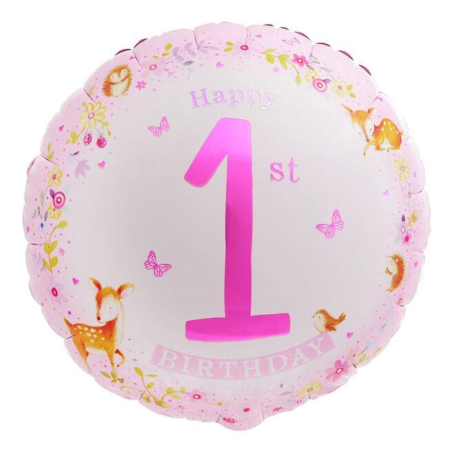 Pink Woodland 1st Birthday 18-Inch Foil Helium Balloon