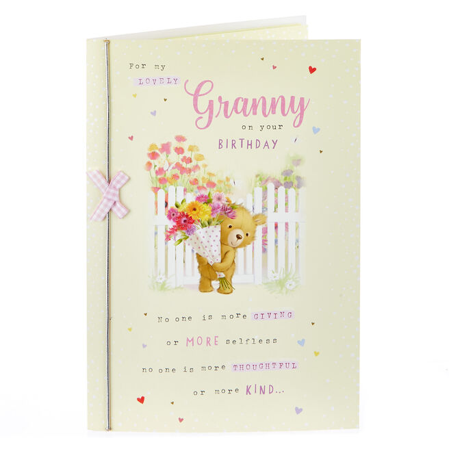 Birthday Card - Lovely Granny, Bear With Flowers