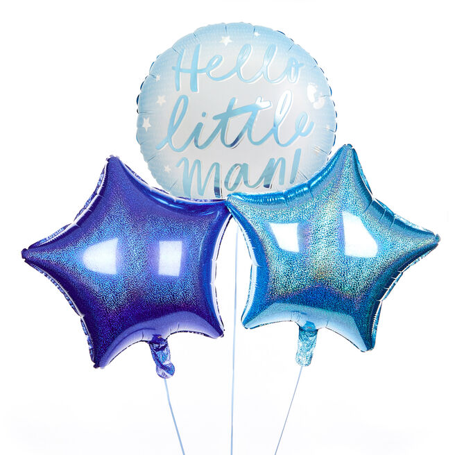 Hello Little Man Balloon Bouquet - DELIVERED INFLATED!