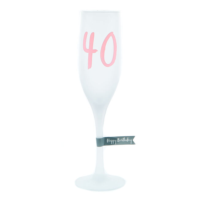 40th Birthday Frosted Champagne Flute