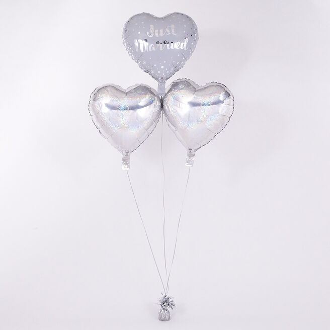 Heart Shaped Just Married Romantic Balloon Bouquet - DELIVERED INFLATED!