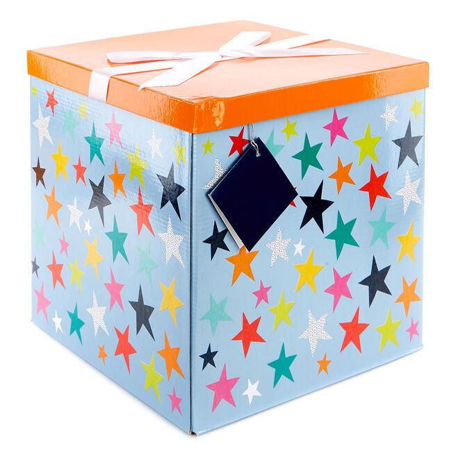 Jumbo Flat-Pack Gift Box - Orange & Blue Stars