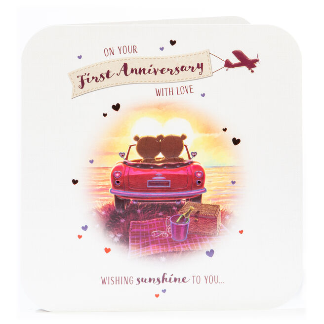 Platinum Collection 1st Anniversary Card - With Love