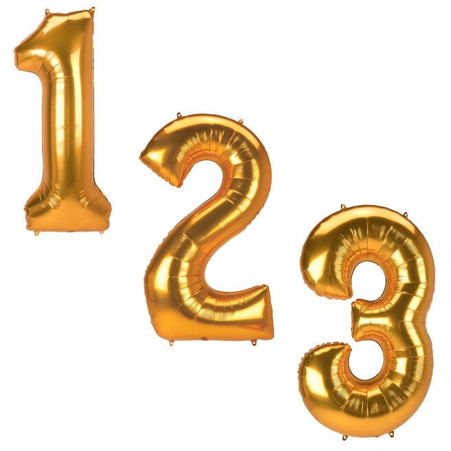 Gold Jumbo Number Helium Balloons 0-9 - Deflated