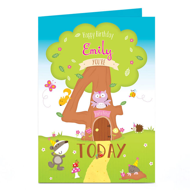Personalised 4th Birthday Card - Tree House