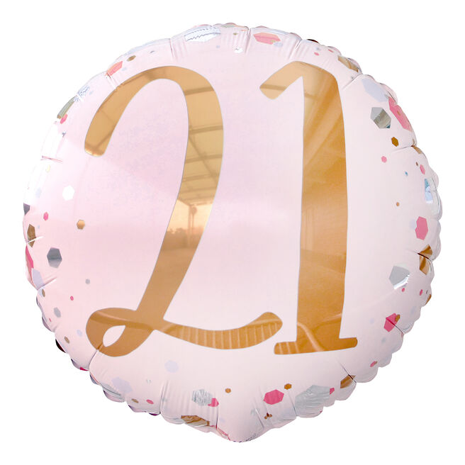 Pink & Rose Gold 21st Birthday 18-Inch Foil helium Balloon