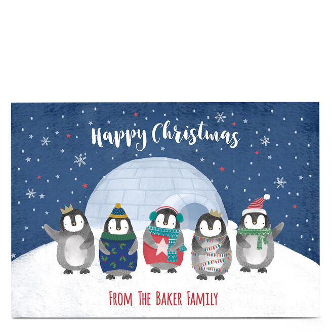 Personalised Christmas Card - From The Penguin Family