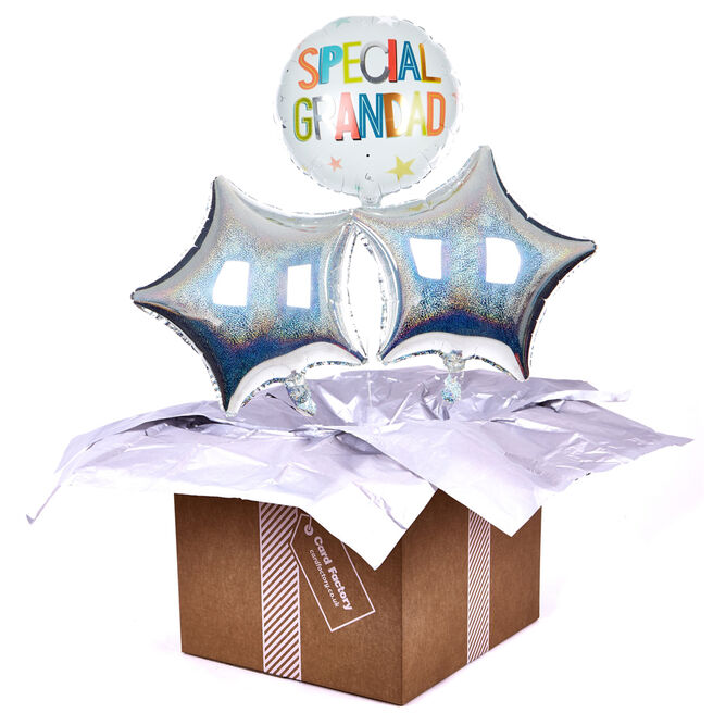 Silver Special Grandad Balloon Bouquet - DELIVERED INFLATED!