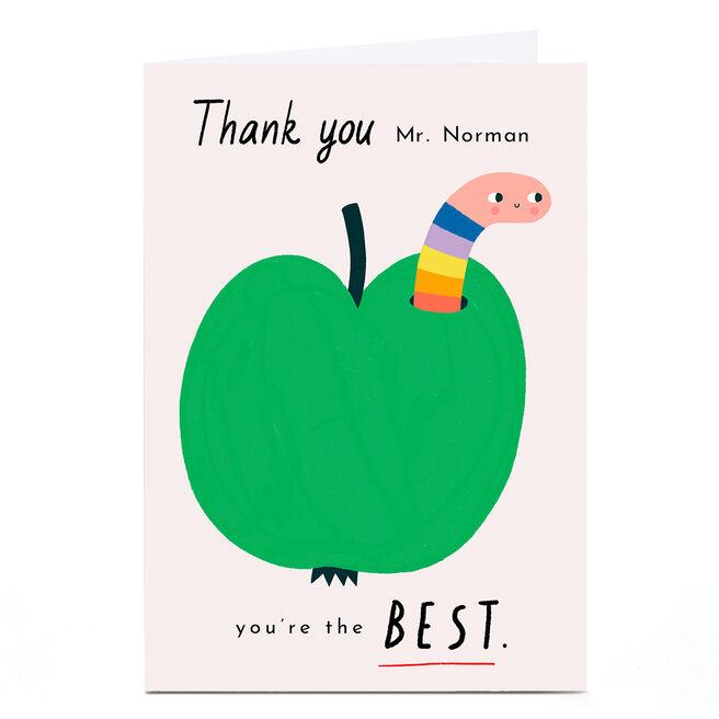 Personalised Lemon and Sugar Thank You Teacher Card - Apple
