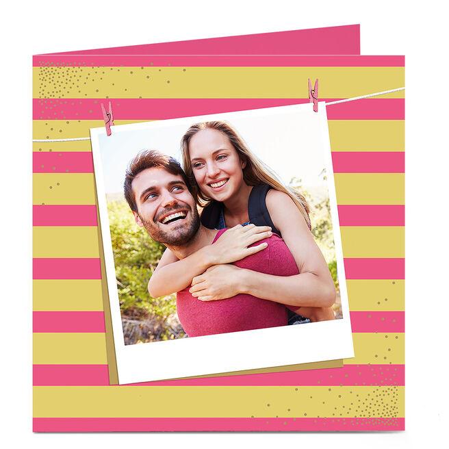 Photo Card - Pink And Yellow Stripe Polaroid