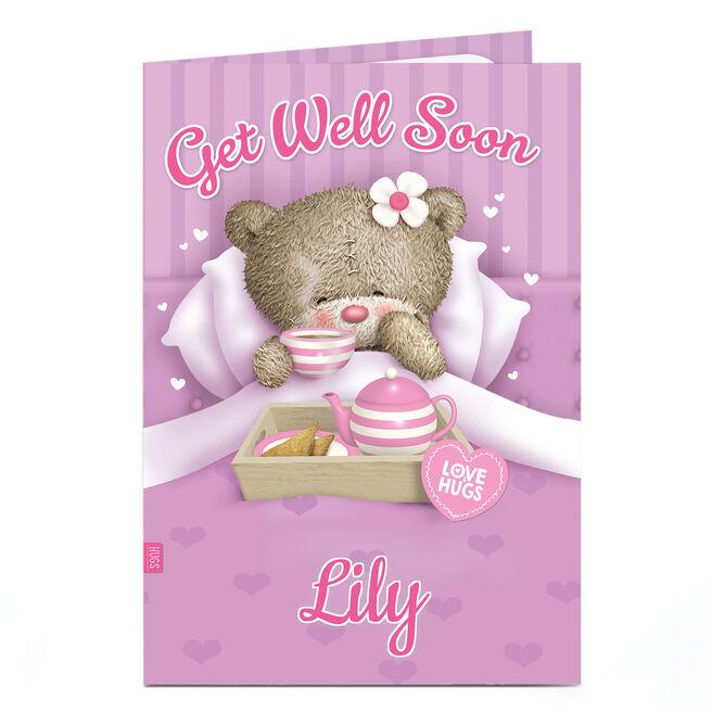 Personalised Hugs Get Well Soon Card - Bear In Bed