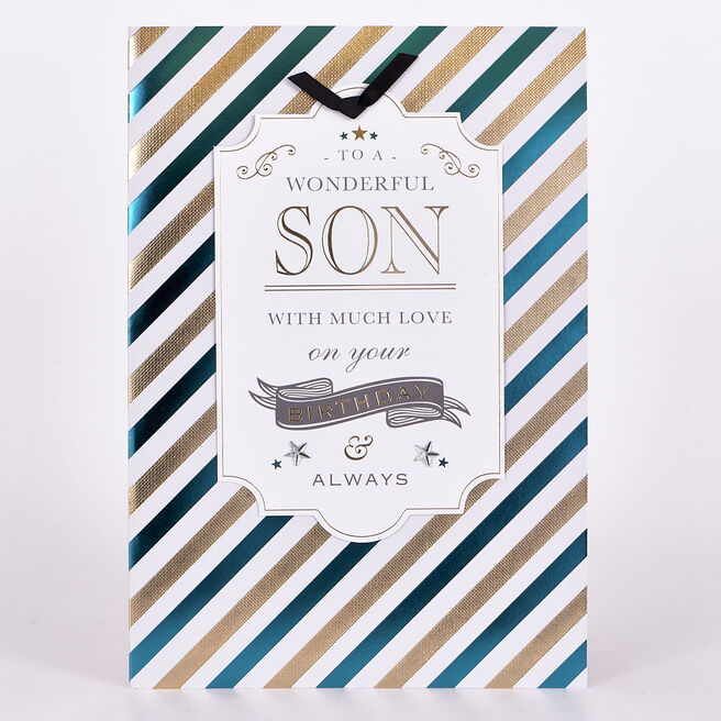 Signature Collection Birthday Card - Son, Stripes