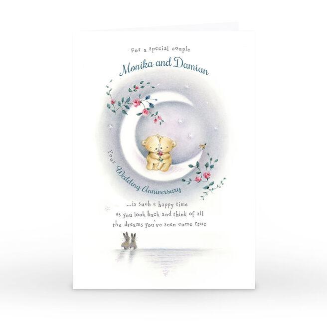 Personalised Anniversary Card - Moonlight Bears