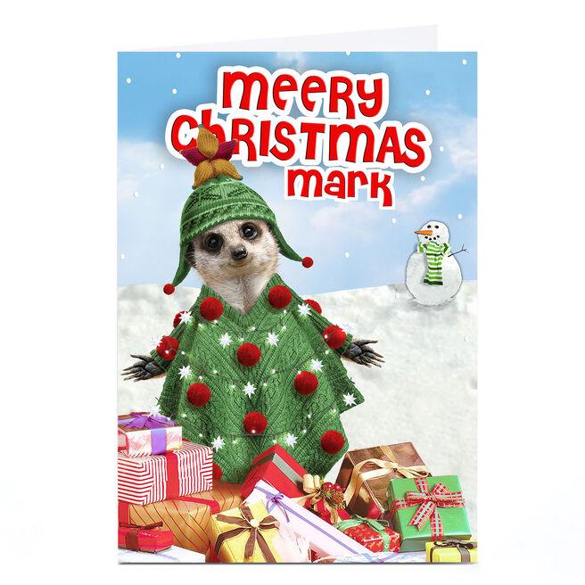 Personalised Christmas Card - Meerkat Tree