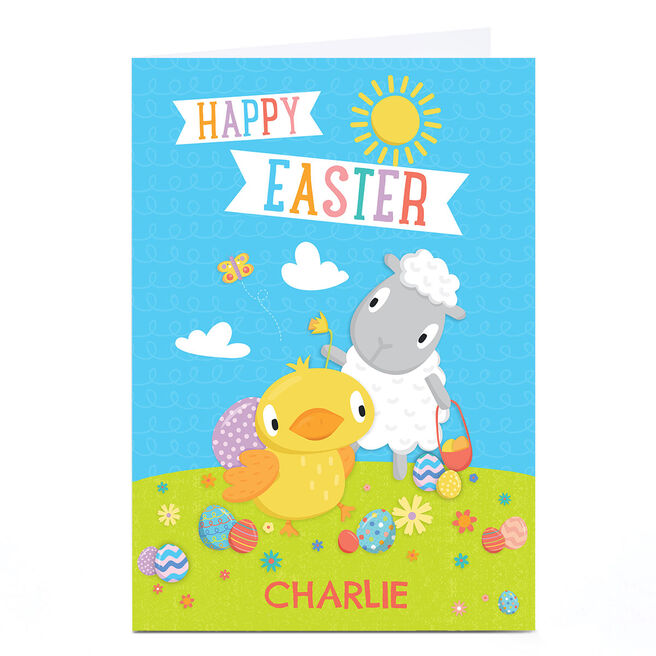 Personalised Easter Card - Chick & Sheep