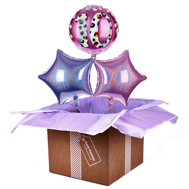 Leopard Print 10th Birthday Balloon Bouquet - DELIVERED INFLATED!