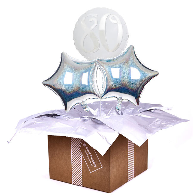 Silver & White 80th Birthday Balloon Bouquet - DELIVERED INFLATED!