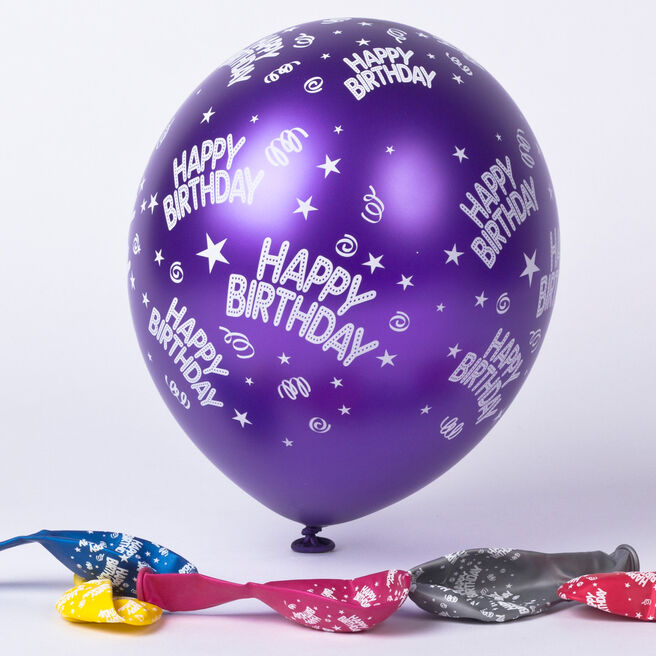 Multicoloured Happy Birthday Latex Balloons -Pack Of 6