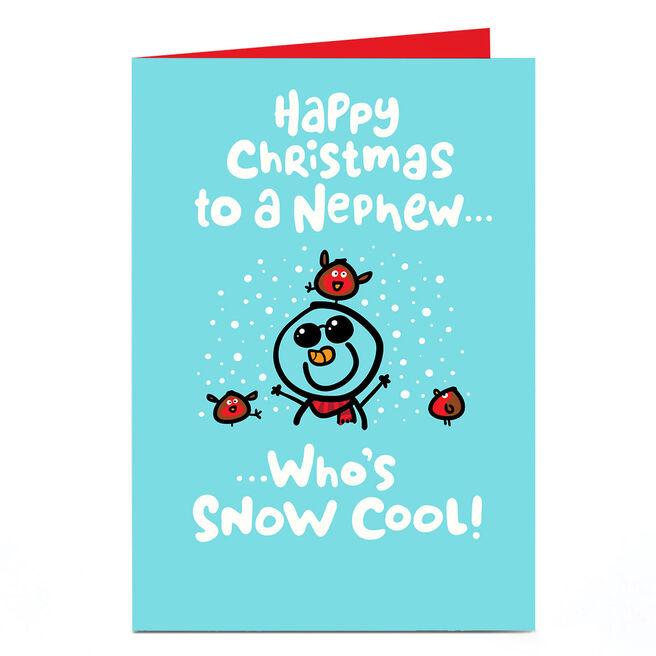 Personalised Fruitloops Christmas Card - Nephew Snow Cool