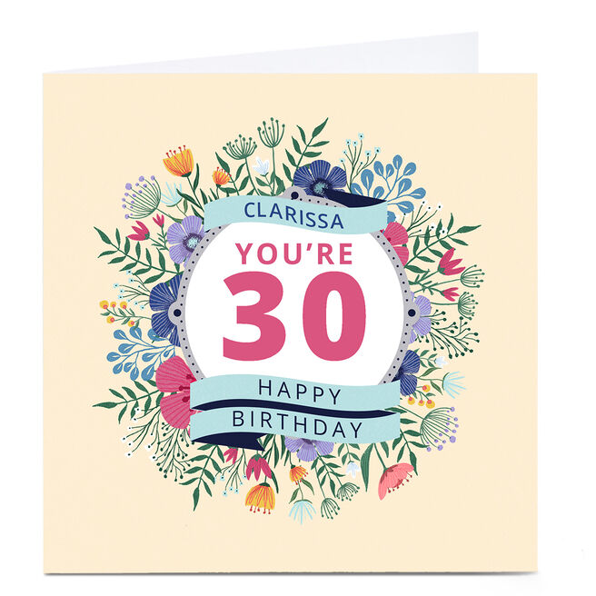 Personalised Dalia Clark Birthday Card - Floral Any Age