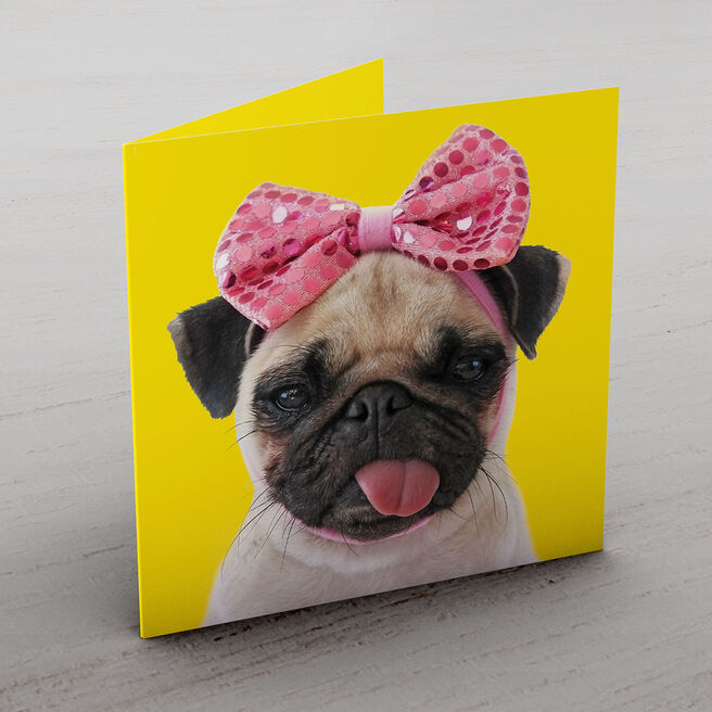 Personalised Card - Pink Bow Pug