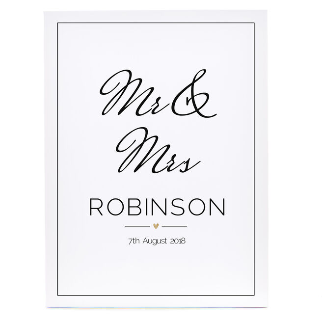 Personalised Canvas - 16x12 (Portrait) - Wedding Date