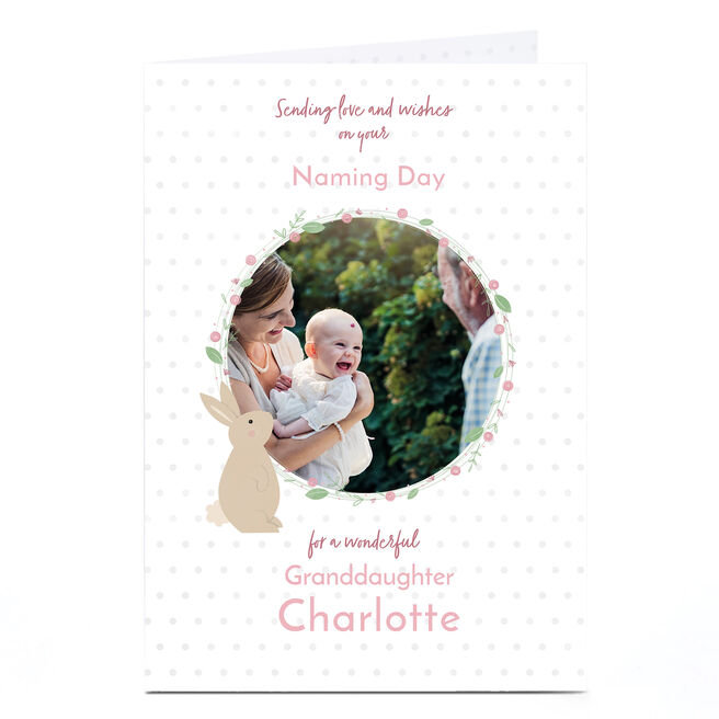 Photo Baby Card - Love & Wishes With Rabbit, Pink