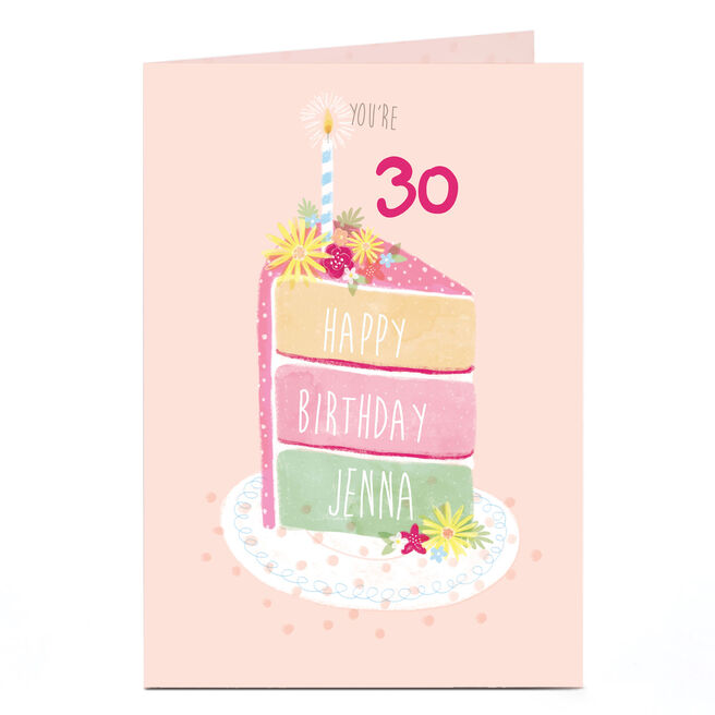 Personalised Birthday Card - Slice Of Cake,  Any Age