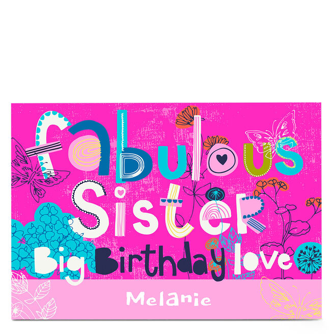 Personalised Bev Hopwood Birthday Card - Fabulous Sister