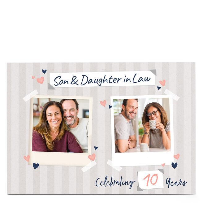 Photo Anniversary Card - Stripes & hearts, 10 Years